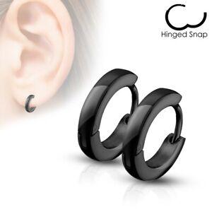 316L Stainless Steel 3mm Thin Simple Huggie Hoop Earrings (Choose Color)