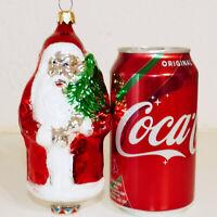 "Christmas Ornament Glass WEST GERMANY POLONAISE SANTA Holding Tree Large 6"""