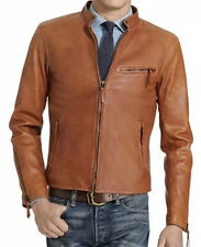 New Men's XL Polo Ralph Lauren Old Amber Brown Cafe Racer Leather Jacket