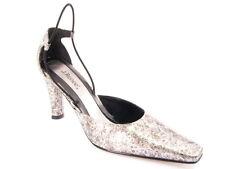 New J. RENEE Women Silver Leather Pump Slingback Pointy Toe Evening Shoe Sz 7 M