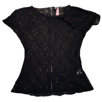 LIPSY Womens Top Shirt UK 10 Small Black Lace Floral Batwing Sleeve