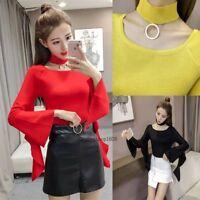 New Women Knit Top Ruffle Sleeve Pullover Fit Bottom Sweater Halter Shirt Blouse