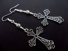 A PAIR OF LONG TIBETAN  SILVER CROSS CRUCIFIX GOTH  MADONNA EARRINGS