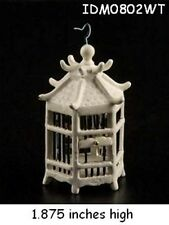 ORIENTAL BIRD CAGE WITH BIRD WHITE FINISH 1:12 SCALE DOLLHOUSE MINIATURES