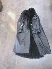 Black Leather Fur Lined Coat ~ Removable Fur , Real S/M