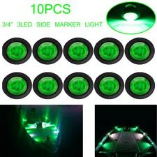 "10x 3/4"" Round Green 3 LED Clearance Side Marker Light Bullet Truck Trailer RV"