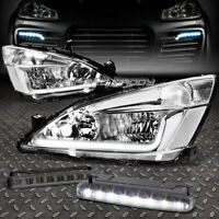 CHROME HOUSING CLEAR CORNER HEADLIGHT+8 LED TINTED DRL FOR 03-07 ACCORD UC1