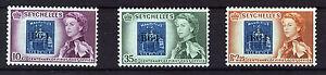 SEYCHELLES 1961 POST OFFICE CENTENARY SG193/195 IMPRINT/PLATE BLOCKS OF 8 MNH