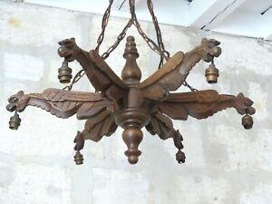 Large Vintage French Carved Wood Gothic Chimera Chandelier 6 Lights Gargoye 1950