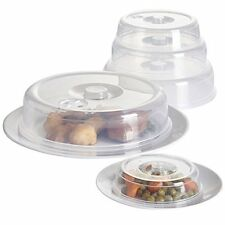 SET OF 5 SMALL TO LARGE VENTILATED MICROWAVE PLATE COVER FOR COVERING FOOD CLEAR