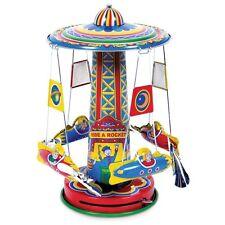Tin Rocket Ride Carousel Toy - Fun Spinning Clockwork Traditional Mechanical Toy