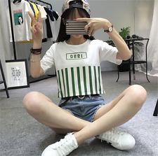 Summer Women's College Harajuku Loose Short Sleeve T Shirt Crop Blouse Top Tank