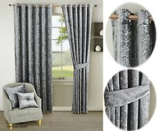 Velvet Curtain Pair Ready Made Fully Lined Ring Top Eyelet Silver
