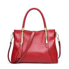 Women's Top Layer Genuine Leather Tassel Shoulder Bag Tote Handbag Purse Hi-Q