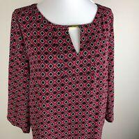 Dana Buchman Women's 3/4 Sleeve Top Blouse Size M Red Black White Geometric
