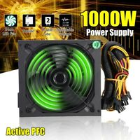 1000W PC PFC Power Supply Quiet ATX Gaming PSU + LED Fan for Desktop  R