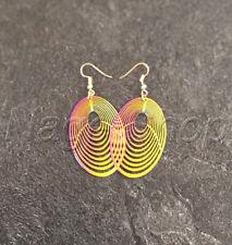 Ohrringe Ohrhänger Ohrhaken Geometrisch Regenbogen Statement Bunt 316L Oval