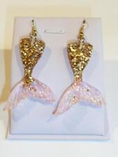 PINK & GOLD MERMAID'S TAIL EARRINGS - GLITTERED RESIN - FREE UK P&P...CG1282