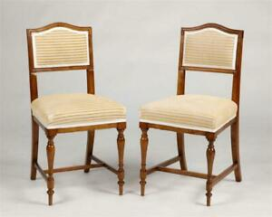 Mid 19th Century Mixed Wood Upholstered Side Chairs- a Pair