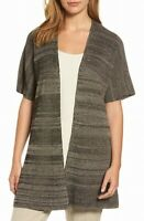 Eileen Fisher Womens Sweater Gray Size Medium M Open Front Cardigan $298 259