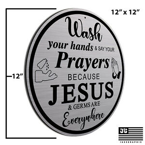 Wash your hands sign Farmhouse Style Hand Washing Sign Brushed Aluminum Made USA