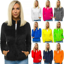 Fleecejacke Sweatshirt Pullover Langarmshirt Unifarben Pulli Zip OZONEE 01 Damen
