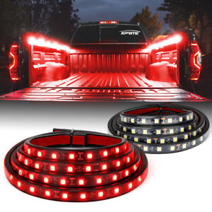 2pcs 60inch LED Truck Bed Cargo Light Bar Work Lighting Kit Strip Red Decor Lamp