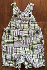 Gymboree Little Gator Boys 0-3m Patchwork Plaid Shortall Overalls Summer EUC