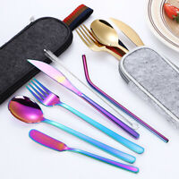 7Pcs/set stainless steel Tableware Reusable Travel Cutlery Set with gray ba@CMU