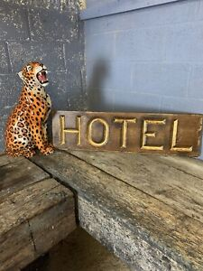 Antique Victorian Hotel Trade Sign Carved Gilded Wooden Gold Large Shop Prop