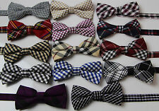 MENS PATTERNED BOW TIE COTTON Stripes Tartan Checkered Pre tied Formal Wedding