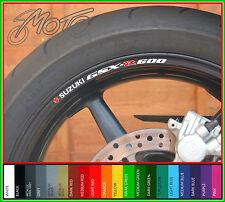 8 X Suzuki Gsxr 600 Rueda Llanta Calcomanías Stickers-elección de colores-Gsxr600 Gsx R