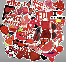 50pc Red Vibe VSCO Girl Aesthetic Stickers PVC Decals for Hydro Flask Laptop