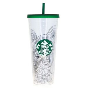 STARBUCKS INK WAVES Abstract Dot Siren Logo Cold Coffee Cup Venti TUMBLER 24Oz