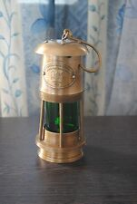 "6"" Brass Nautical Miner Ship Lantern Oil Lamp Green Glass Maritime Vintage Style"