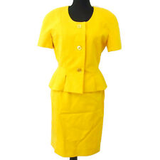Authentic CELINE Vintage Logos Setup Suit Jacket Skirt Yellow #38 NR08780