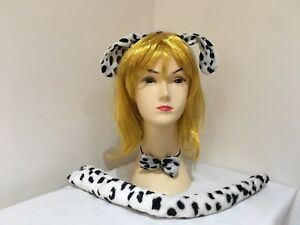 Dalmation Costume Set Kit Ears Headband Bow Tie With Long Tail Costume Dress Up