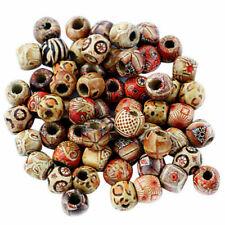Lots 100pcs Mixed Large Hole Ethnic Pattern Stringing Wood Beads DIY Jewelry