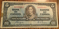 1937 CANADA 5 DOLLARS BANK NOTE - E/S - Coyne / Towers