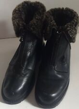 Vtg Blondo Size 7 EUR 37 Black Leather Genuine Shearling Waterproof Boots CANADA