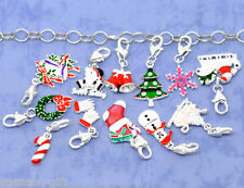 HX 50 Clip On Charms Fit Link Chain Bracelets Enamel Christmas Silver Plated