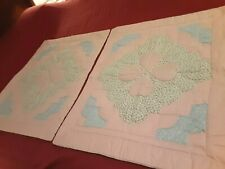 """Vintage Matching Pillow Sham Pair Quilted 29"""" X 24"""" Pink, Blue, Green"""