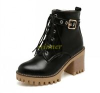 New Womens Round Toe Block Heel Platform Lace Up Combat Riding Shoes Ankle Boots