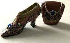 Miniature Shoes & Handbag Nostalgia/ Popular Imports Mauve with Blue stones