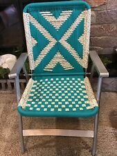 AWESOME Aluminum Macrame Folding Lawn Chair Teal White Vintage Excellent