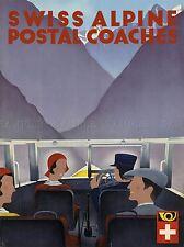 TRAVEL TRANSPORT SWISS ALPINE POSTAL COACHES ART POSTER PRINT LV4461