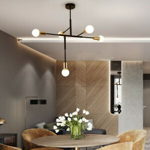 Industrial Loft Black Gold Metal Linear with 5 Exposed Bulbs Pendant Lights Art