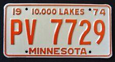 "MINNESOTA "" 10.000 LAKES HH 7729 "" 1974 MN Vintage Classic  License Plate"