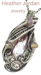 Pink Champagne Biwa Stick Freshwater Pearl Wire-Wrapped Pendant, Ethiopian Opals