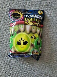 Illooms Led Light Up Glow Balloons Green Face Alien 5pk Halloween Party